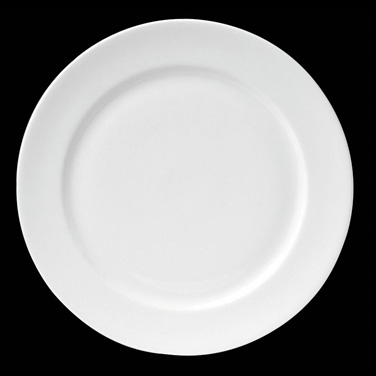 "Plate, 9-3/4"" dia. (7-3/8"" well), round, flat, porcelain, Tria, Simple Plus (min"