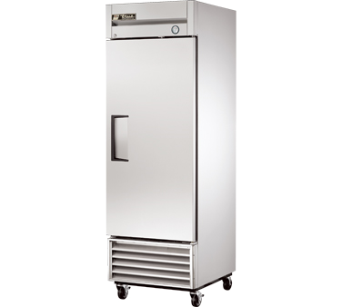 Refrigerator, Reach-in, one-section, stainless steel door, stainless steel front