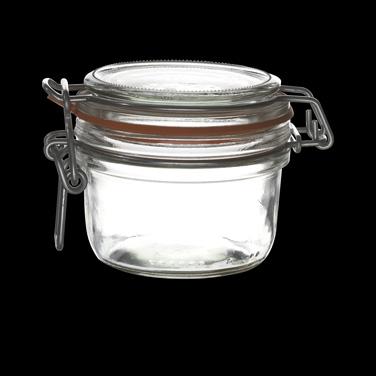 Jar, 6 oz., clear, white gasket, Bormioli, Fido (USA stock item) (minimum = case