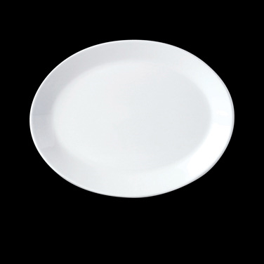 "Platter, 13-1/2"", oval, coupe, vitrified china, Performance, Simplicity, Black L"