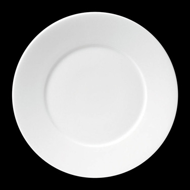 "Plate, 12"" dia. (7-3/8"" well), round, wide rim, porcelain, Tria, Simple Plus (mi"