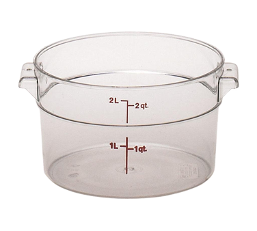 """Storage Container, round, 2 qt., 8-3/16"""" dia. x 4-3/16""""H, translucent, polypropy"""