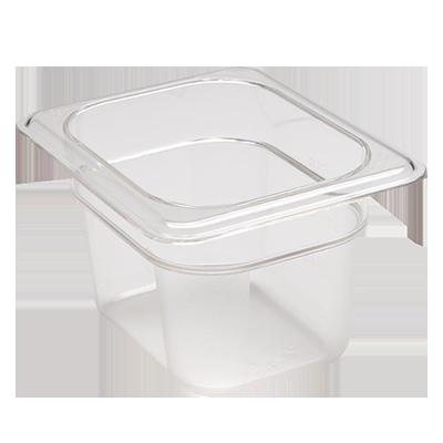"Camwear® Food Pan, 1.1 qt. capacity, 4"" deep, 1/8 size, polycarbonate, clear, NS"