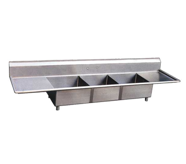 "(22117) Pot Sink, (3) 18"" front to back x 18"" wide x 11"" deep bowls, 8"" center f"