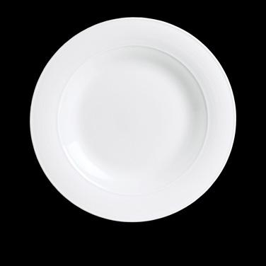 "Plate, 6-3/4"" dia., round, mid rim, porcelain, Aura, Rene Ozorio (Canada stock i"