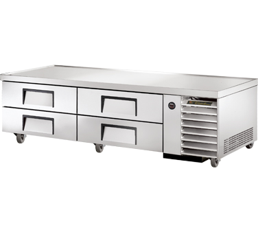 "Refrigerated Chef Base, 79-1/4""L base, one-piece 300 series 18 gauge stainless s"