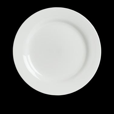 "Buffet Plate, 9-1/2"" dia., round, wide rim, porcelain, Rene Ozorio Concerto (Can"