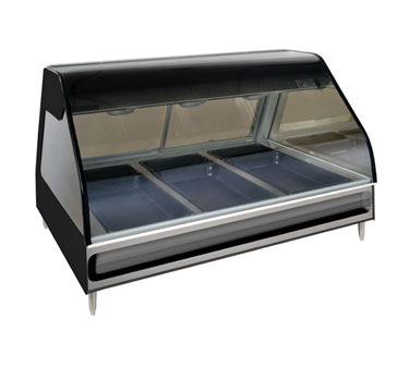 "Halo Heat® Heated Display Case, countertop 48"" L, full-service, curved glass fro"