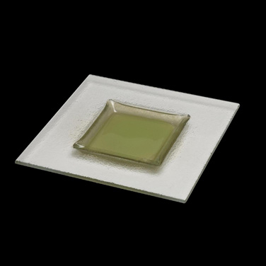 """Plate, 9-7/8"""", square, with 5-3/8"""" green center, Catherine Hurand Apollo (priced"""