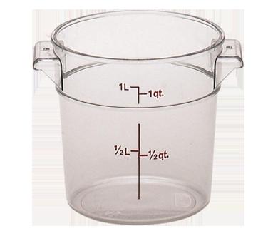 "Storage Container, round, 1 qt., 6-1/16"" dia. x 5""H, translucent, polypropylene,"
