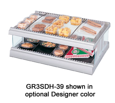 Glo-Ray® Designer Horizontal Display Warmer, (10) rods, free-standing, (1) shelf