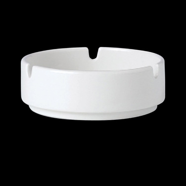 "Ashtray, 4"" dia., round, stackable, 3 notches, vitrified ceramic, Performance, S"