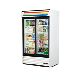 True Mfg Refrigerated Merchandiser, two-section, (8) shelves, white laminated vinyl exter