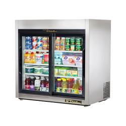 True Mfg Countertop Refrigerated Merchandiser, (2) glass sliding doors, stainless steel f