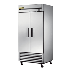 True Mfg Refrigerator, Reach-in, two-section, stainless steel doors, stainless steel fron