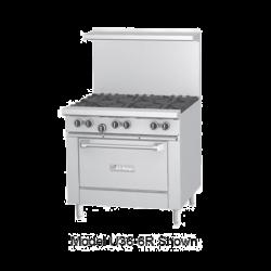 Garland U Series Restaurant Range, gas, 36, (6 32,000 BTU open burners, with cast iron t