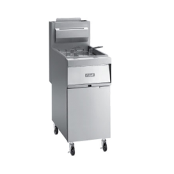 "Vulcan Fryer, Gas, 15-1/2""W, free-standing, 90,000 BTU, stainless steel cabinet and 14"""