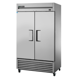 True Mfg Refrigerator, Reach-in, two-section, (2) stainless steel doors, stainless steel