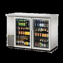 "True Mfg Back Bar Cooler, two-section, 24"" deep, 35-7/8"" high, (48) 6-packs or (2) 1/2 ke"