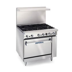 "Imperial Restaurant Range, gas, 36"", (6) open burners, standard oven, (1) chrome rack, re"