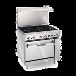 """Imperial Restaurant Range, gas, 36"""", (6) open burners, standard oven, (1) chrome rack, re"""