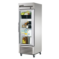 True Mfg Refrigerator, Reach-in, one-section, glass door, stainless steel front, aluminum