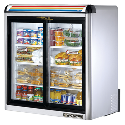 True Mfg Countertop Refrigerated Merchandiser, (2-1/2) shelves, stainless steel exterior,