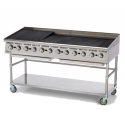 "Star Mfg Ultra-Max® Charbroiler, gas, 72""L, 30-5/8""D, 18""H, lava rock, adjustable manual"