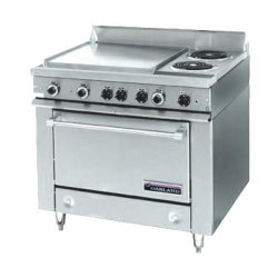 "Garland 36E Series Heavy Duty Range, electric, 36"" fry top section with thermostats, sto"