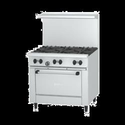 Garland Sunfire® Restaurant Range, gas, 36, (6 30,000 BTU open burners, with cast iron t