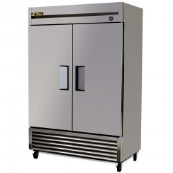 True Mfg Refrigerator, Reach-in, two-section, stainless steel doors, stainless steel front
