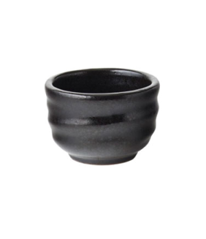 "Dip Bowl, 1.25 oz (37mL), 2"" diameter, round, embossed, vitrified ceramic, ebony"