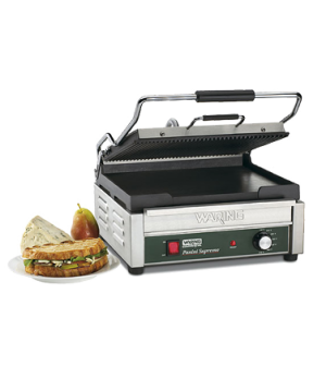 "Dual Surface Panini Grill, electric, double, 14-1/2"" x 11"" cooking surface, hing"
