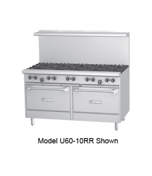 "U Series Restaurant Range, gas, 60, (4 32,000 BTU open burners, 36"" x 23"" x 5/8"""