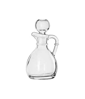 "Cruet, 6 oz., glass with stopper, (H 4-3/8""; T 1-1/2""; B 1-3/4""; D 2-7/8"")"