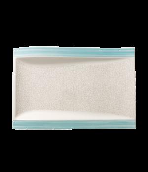 """Gourmet Plate, 14-1/2 """" x 10"""", rectangular, premium porcelain, Amarah Aquamarine"""