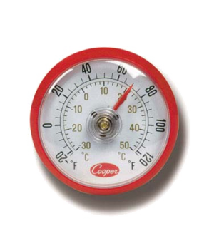 "Refrigerator/Freezer/Milk Cooler/Walk-In Coolers Thermometer, 2"" dial type, 1-1/"