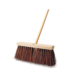 "Street Broom, 16""L, wood block, polypropylene fill, brown"
