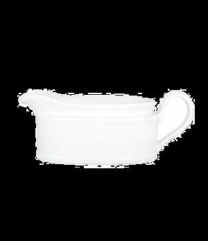 "Gravyboat, 6-1/4"" x 2-3/8"", 8-1/2 oz., premium porcelain, Millenia Bianca (DE St"
