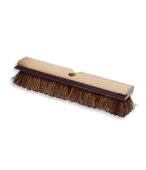 Deck Brush, wood block with squeegee, palmyra fill, brown