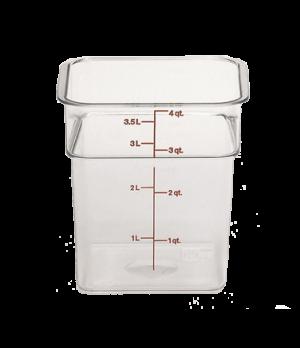 CamSquare® Food Container, 4 quart, 7-1/4 x 7-1/4 x 7-3/8, clear, green graduati