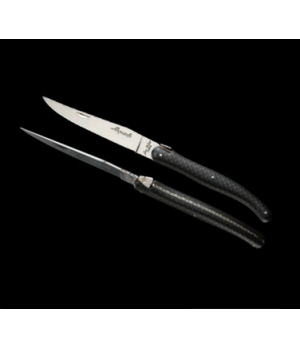 "Steak Knife, 9"", 2.5 mm, sharpened, black handle, stainless steel, Laguiole (pri"