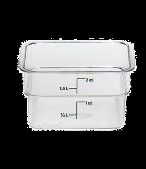 "CamSquare® Food Container, 2 quart, 7-1/4"" x 7-1/4"" x 3-7/8"", clear, green gradu"