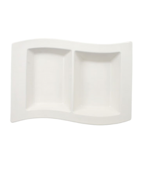 "Divided Tray, 2 oz. x 10 oz., 12-1/4"" x 8-1/4"", 2 pt., premium porcelain, New Wa"
