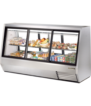 Double Duty Deli Case, pass-thru, Low-E glass doors (3) front & (3) rear, white