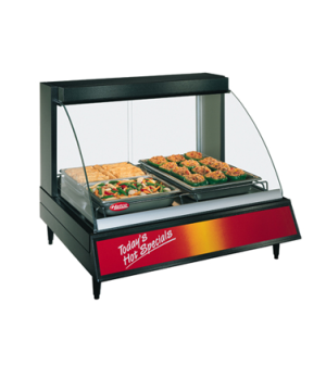 Glo-Ray® Designer Heated Display Case, tempered curved glass, countertop design,