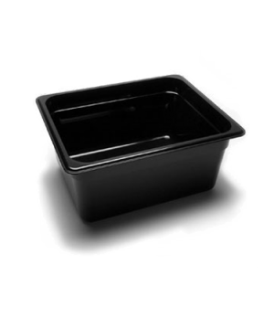 "Camwear® Food Pan, 1/2 size, 6"" deep, polycarbonate, black, NSF"