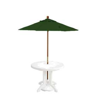 "Market Umbrella, 7 ft, 1-1/2"" wooden pole, Outdura fabric, forest green"
