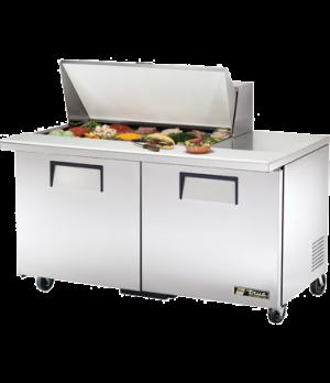 """Mega Top Sandwich/Salad Unit, (18) 1/6 size (4""""D) poly pans, stainless steel ins"""