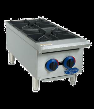 "Chefmate™ 12"" Hot Plate, 2 burner, heavy-duty cast iron grates, 25,000 BTUs per"
